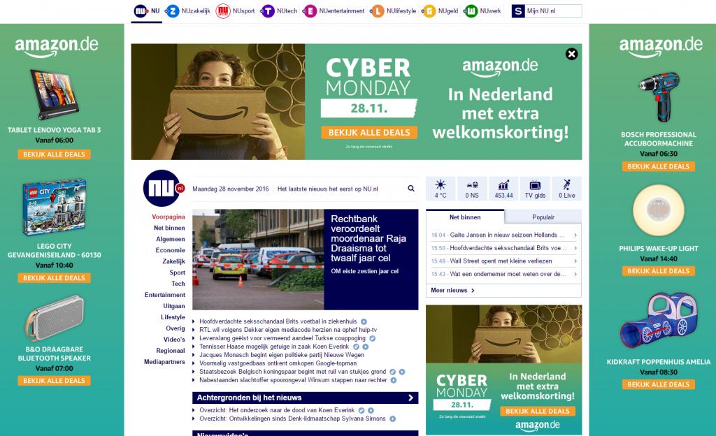 Homepagetakeover Amazon op nu.nl
